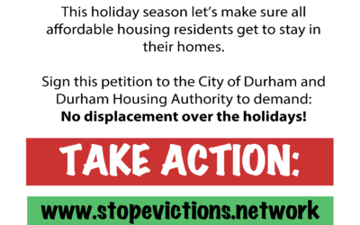 Durham: Stop Evictions, No Displacement During the Holidays